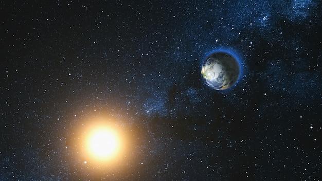 惑星地球と宇宙の太陽の空間ビュー