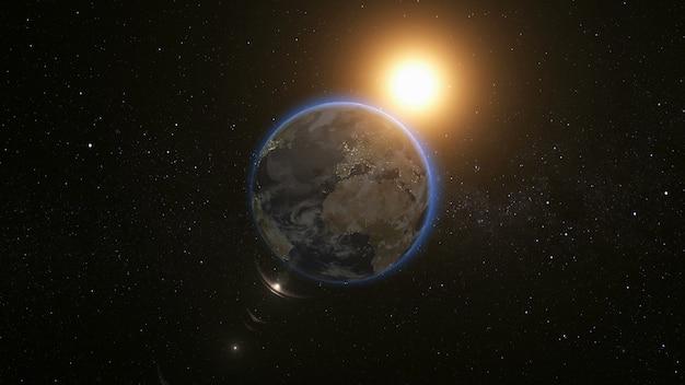 宇宙の惑星地球と太陽の宇宙ビュー
