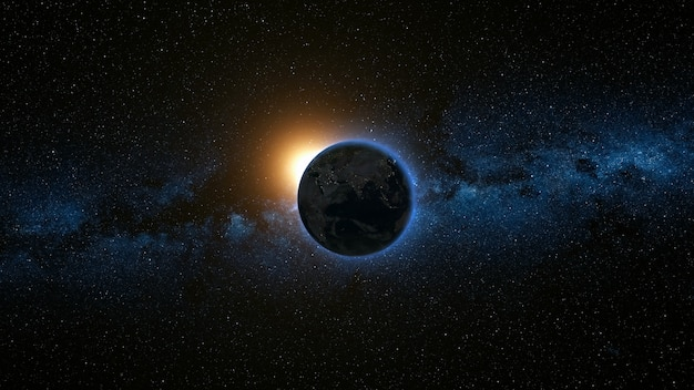 Космический вид на планете земля и солнце, звезда, вращающаяся вокруг своей оси в черной вселенной. млечный путь на заднем плане. безшовная петля с дневным и ночным изменением огней города. элементы изображения, предоставленные наса