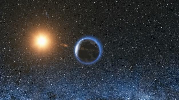 Вид из космоса на планету земля и звезду солнца, вращающуюся вокруг своей оси в черной вселенной, млечный путь в