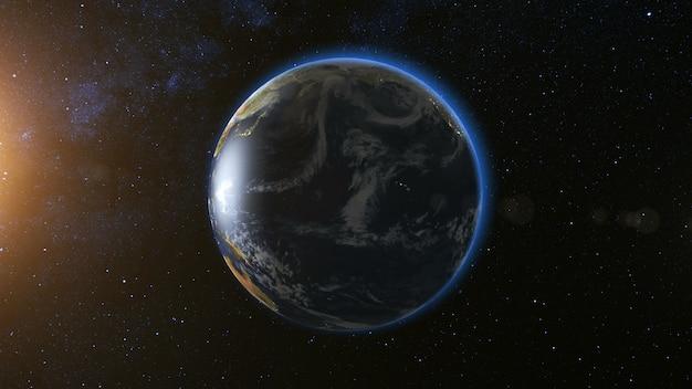 Космический вид на планете земля и солнце, звезда, вращающаяся вокруг своей оси в черной вселенной. безшовная петля с дневным и ночным изменением огней города. концепция астрономии и науки. элементы изображения, предоставленные наса