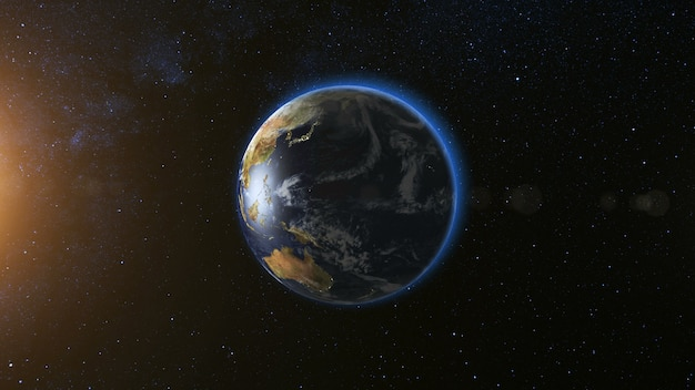 Space view on planet earth and sun star rotating on its axis in black universe seamless loop with