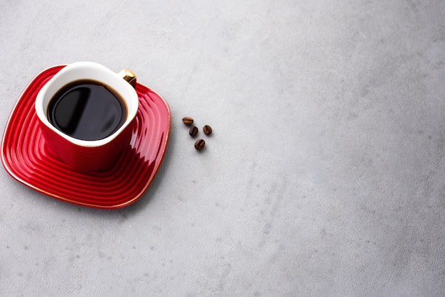 Space vintage coffee in red cup and coffee bean food