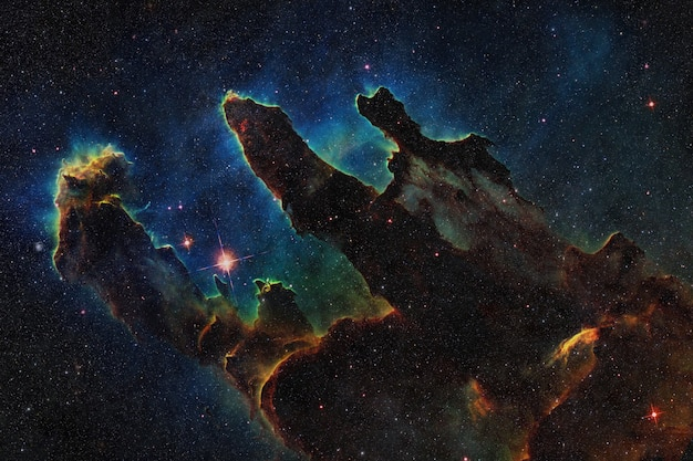 Space wallpaper. deep space with colored nebulae, galaxies and stars. starry cosmos background