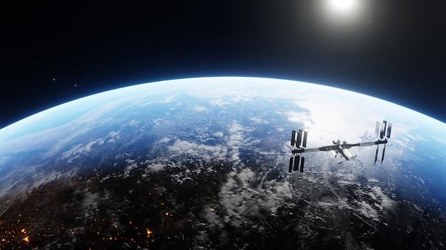 밤에 현대 우주 기술을 사용하여 태양 전지판을 배치하는 우주선