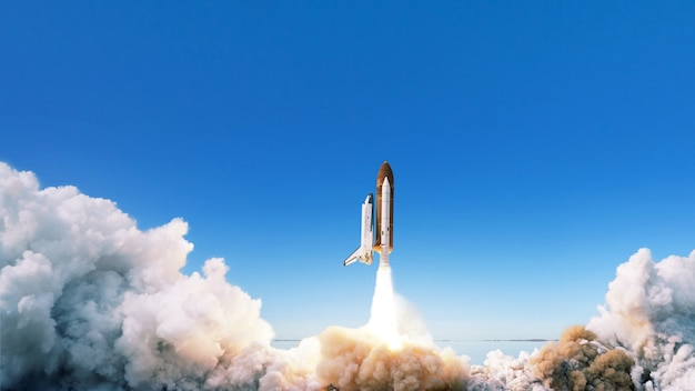 Spacecraft takes off into space