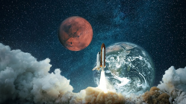 Spacecraft takes off into the starry sky with the planet earth and the planet mars