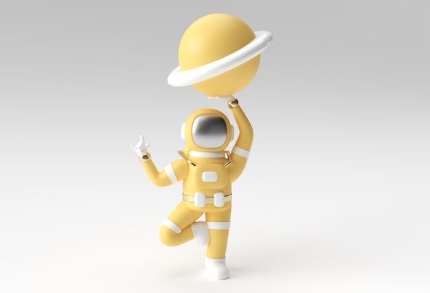 宇宙飛行士は、惑星木星の3dイラストデザインを保持しているロックジェスチャを手渡します。