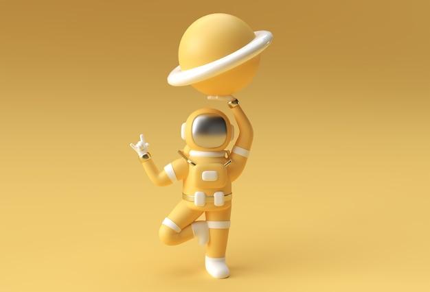 宇宙飛行士が惑星木星を持ってロックジェスチャを手渡す