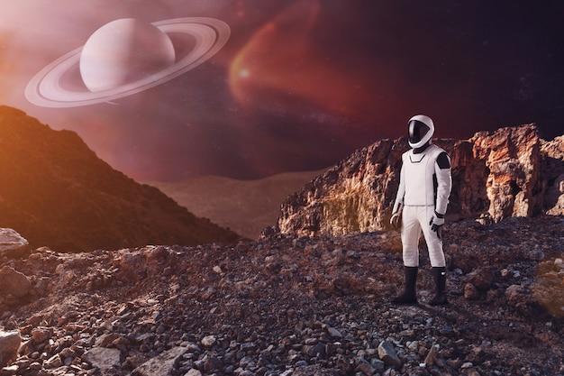 Spaceman walks on the alien planet