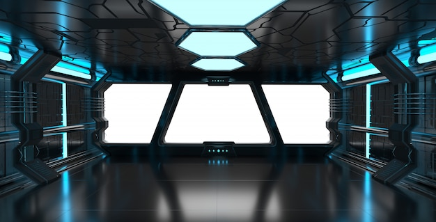 Spaceship blue interior with empty window 3d rendering elements of this image furnished by nasa