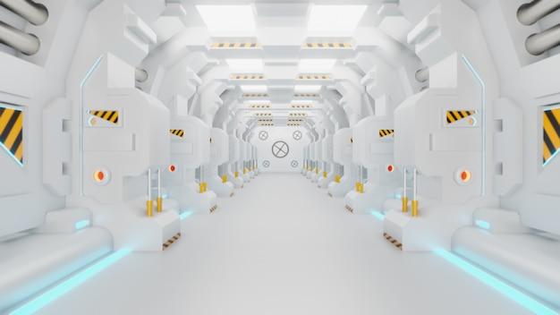 宇宙船回廊は、動く宇宙船の内部を示すストックモーショングラフィックビデオです。 povは廊下に沿って移動します。 3dレンダリング