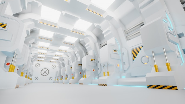 Космический корабль коридор - это видео со стандартной графикой движения, которая показывает интерьер движущегося космического корабля. pov движется по коридору. 3d визуализация