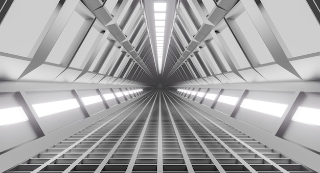 宇宙船の廊下、光のトンネル。サイエンスフィクション、科学の概念。 3dレンダリング。