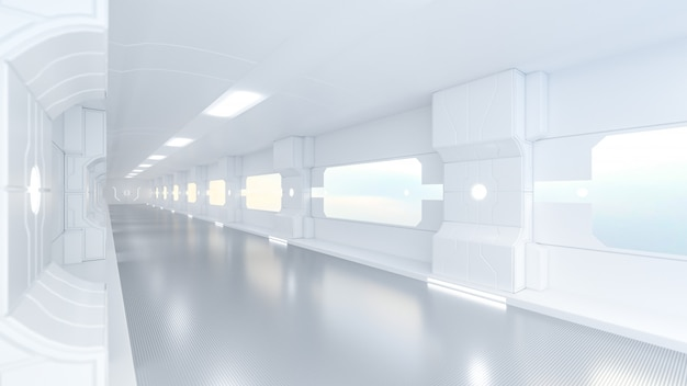 Spaceship or science lap, sci-fi corridor white color