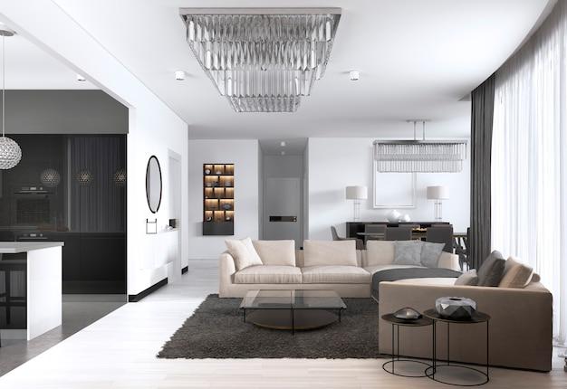 Просторная квартира-студия с интерьером в скандинавском стиле с белыми стенами, столовой и кухней. 3d рендеринг