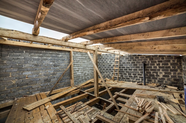 Spacious attic room under construction