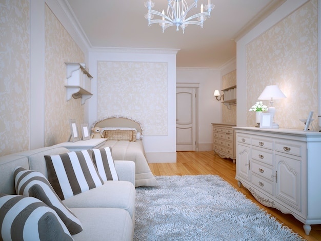 Spacious bedroom classic style