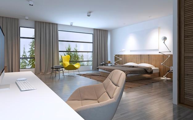 広々としたベッドルームのモダンなスタイル。大きな水平の窓とバルコニーへの入り口、茶色の家具