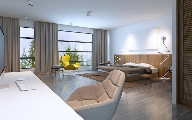 Spacious bedroom modern style. large horizontal window and entrance to balcony, brown furniture