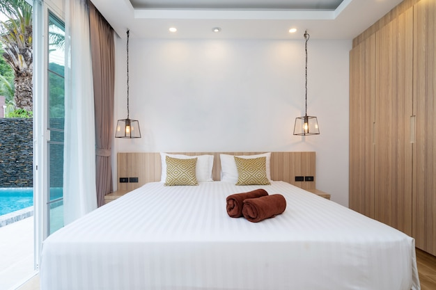 Spacious bedroom pool access with sliding door