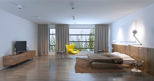 Spacious bedroom with balcony. 3d render