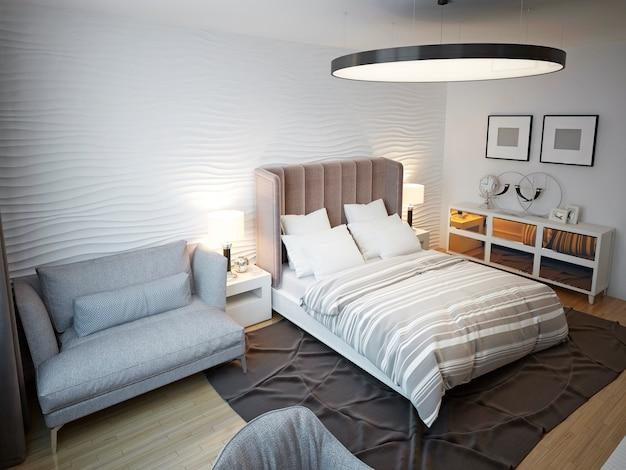 Просторный современный дизайн спальни.