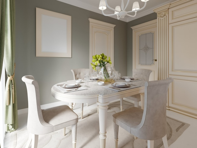 Spacious dining room interior and kitchen, 3d rendering