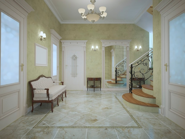 Spacious entrance of hotel in neoclassical style.