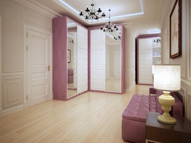 보라색 가구와 밝은 목재 바닥으로 된 넓은 입구의 현대적인 디자인 복도.