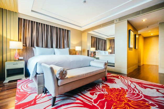 Spacious hotel room with rug