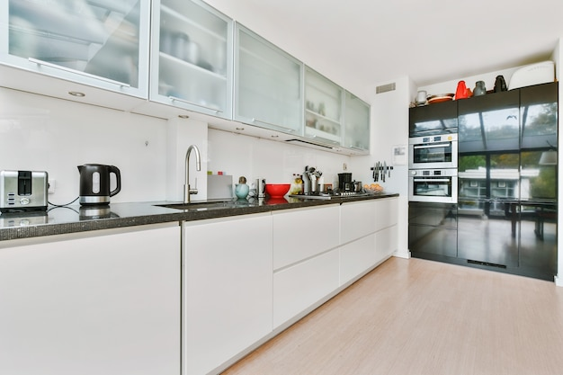 Spacious kitchen room with white and matte cabinets and built in chrome appliances in daylight