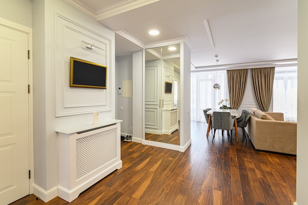 大きなワンルームマンションの一部としての広々とした豪華な廊下のインテリア