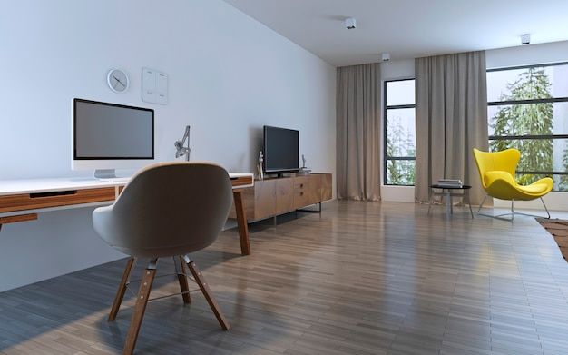 Spacious room with work area and balcony. panoramic windows. 3d render