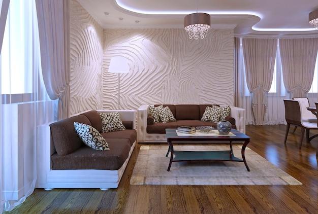 현대적인 스타일의 넓은 아파트. 고급 가구, 광택 바닥, 갈색의 부드러운 가죽 소파. 인테리어에 네온 불빛을 사용하는 것에 대한 영감. 3d 렌더링