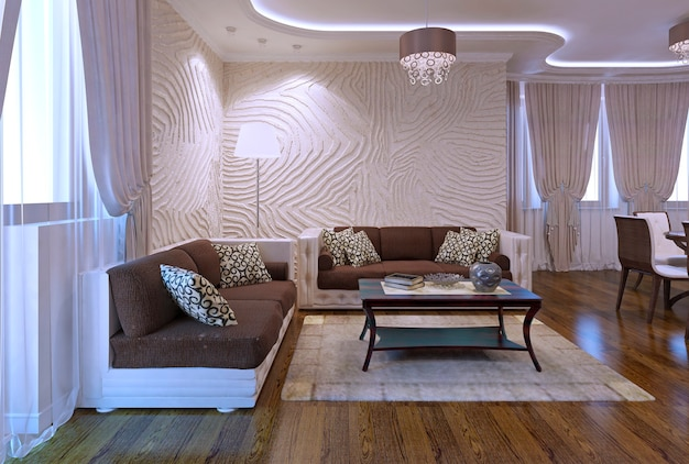 Spacy apartments in modern style. luxury furniture, polished flooring, soft leather sofa in brown color. inspiration for using neon lights in interior. 3d render