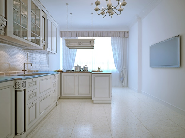 Spacy interior of classic kitchen