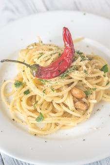 Спагетти алио олио и пеперончино