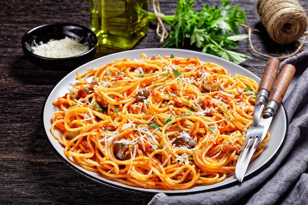 Spaghetti alla norma, sicilian pasta dish of sauteed eggplant tossed with tomato sauce and topped with shredded parmesan served on a plate, italian cuisine, horizontal view from above