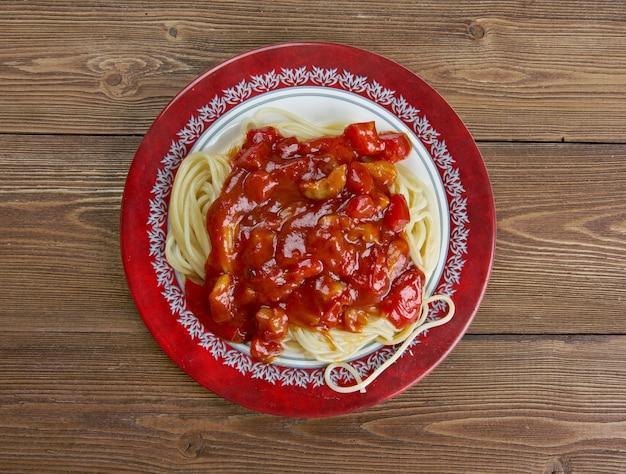 Спагетти amatriciana, традиционная итальянская паста