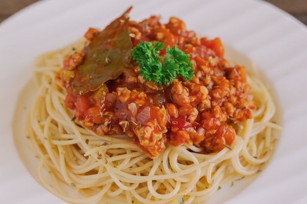 Spaghetti bolognese sauce with beef or pork