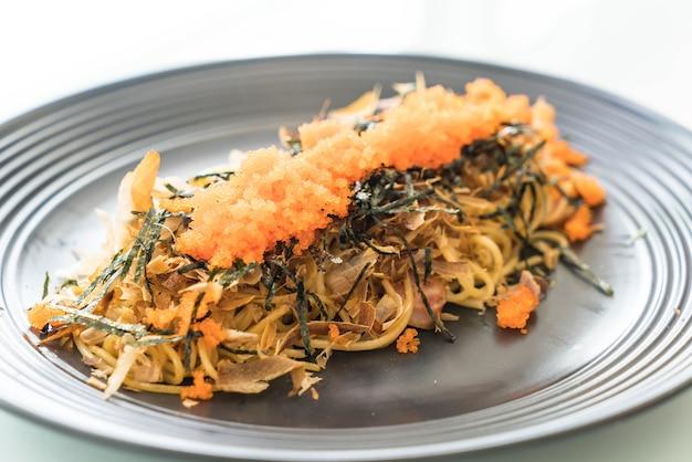 Spaghetti japannese sausage with tobiko