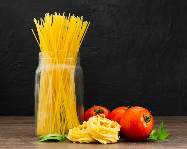 Spaghetti in jar with tomatoes