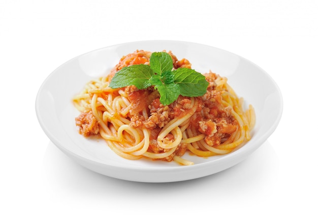 Spaghetti pasta with tomato beef sauce in plate