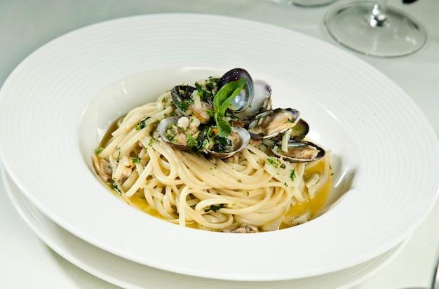 Spaghetti seafood on white background