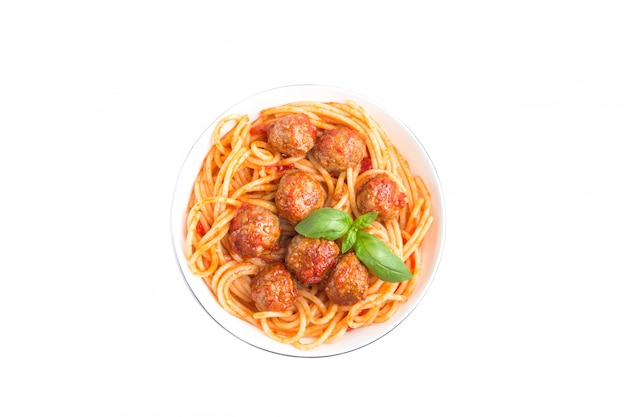 Spaghetti with meatballs isolated