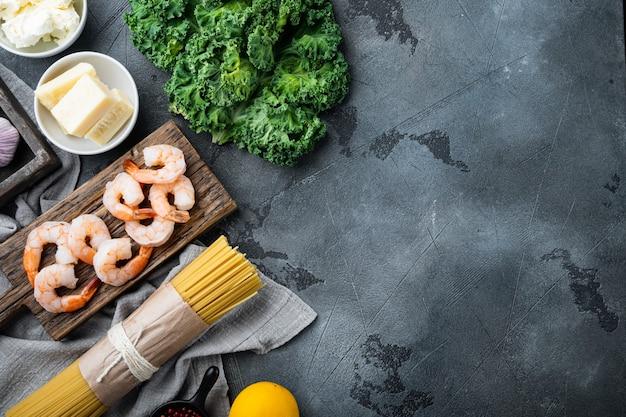 딜로 맛을 낸 파마산 스파게티, 새우 요리 재료 세트, 회색