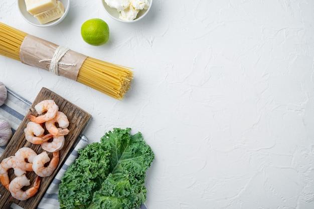 딜으로 맛을 낸 파마산 스파게티, 새우 요리 재료 세트, 화이트