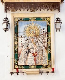 Spain, andalusia region. traditional catholic altar in public street for prayer, beginning xx century