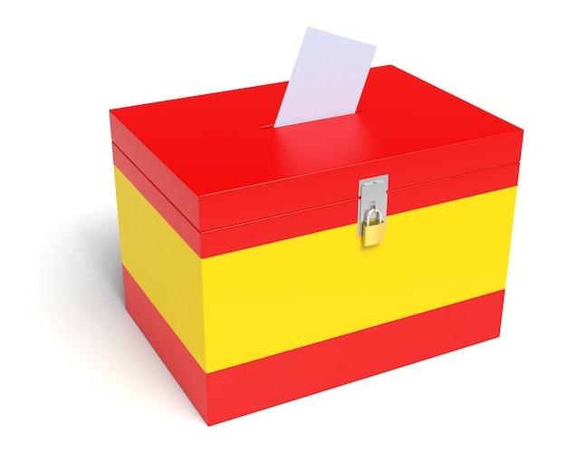 스페인 국기와 함께 스페인 투표함입니다. 흰색 배경에 고립.